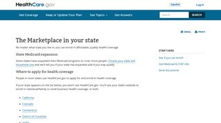 The Marketplace in your state | HealthCare.gov