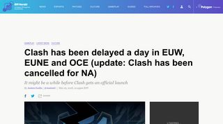 Clash has been delayed a day in EUW, EUNE and OCE (update ...