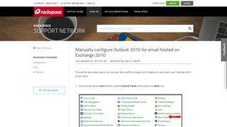 Manually configure Outlook 2010 for email hosted on Exchange 2010