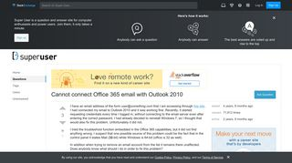 Cannot connect Office 365 email with Outlook 2010 - Super User