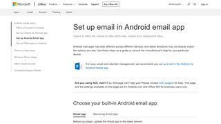 Set up email in Android email app - Office Support - Office 365