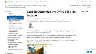 Step 11: Customize the Office 365 sign-in page | Microsoft Docs