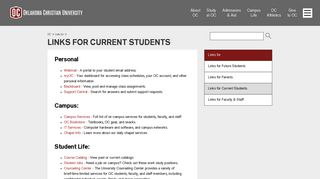 Links for Current Students   Oklahoma Christian University