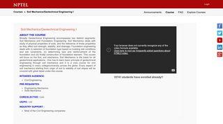 Soil Mechanics/Geotechnical Engineering I - NPTEL Online Courses