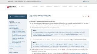 OpenStack Docs: Log in to the dashboard