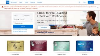 American Express : Online Services : Log in