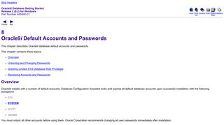 Oracle9i Default Accounts and Passwords - Oracle Docs
