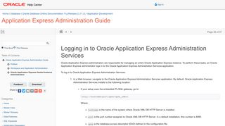 Logging in to Oracle Application Express Administration Services