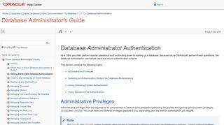 Database Administrator Authentication - Oracle Docs