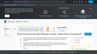 Oracle Enterprise Manager Database Console - default login and ...