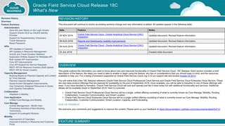 Oracle Field Service Cloud Release 18C