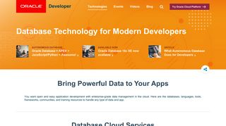 Database Technology   Oracle Developers - Oracle Developers Portal
