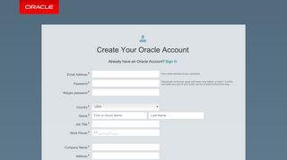 Oracle   Create Account
