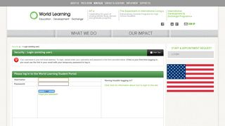 Security > Login (existing user) > World Learning Portal