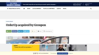 OrderUp acquired by Groupon - Baltimore Business Journal