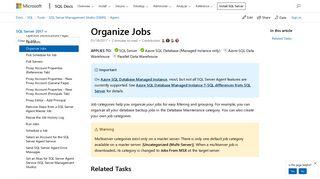 Organize Jobs - SQL Server | Microsoft Docs