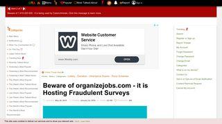 Beware of organizejobs.com - it is Hosting Fraudulent Surveys