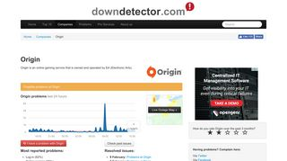 Origin down? Current outages and problems   Downdetector