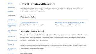 Patient Portals   Ascension