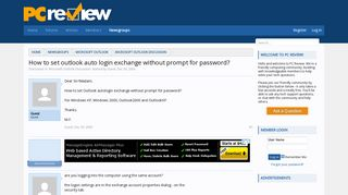 How to set outlook auto login exchange without prompt for password ...
