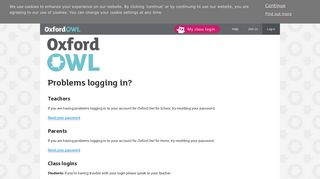 Problems Logging in - Oxford Owl