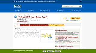 Overview - Oxleas NHS Foundation Trust - NHS