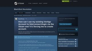 How can I use my existing Vertigo Account to link/connect/login via the ...