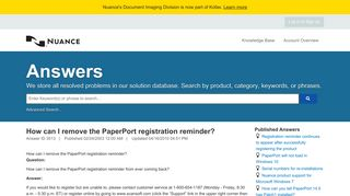 How can I remove the PaperPort registration reminder? - 1 - Service