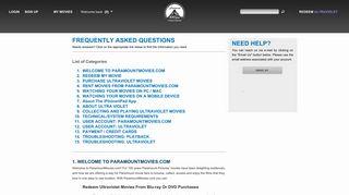 ParamountMovies.com: Support / FAQ - Paramount Pictures