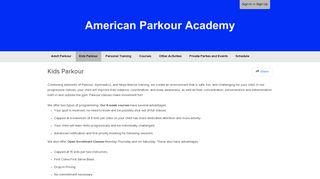 Kids Parkour - American Parkour Academy - Pike13