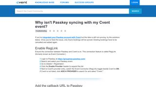 Why isn't Passkey syncing with my Cvent event?