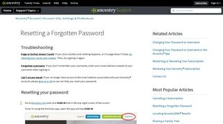 Resetting a Forgotten Password - Ancestry Support