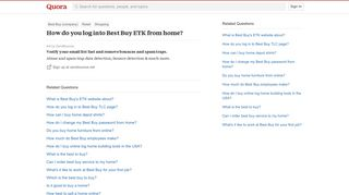 How to log into Best Buy ETK from home - Quora