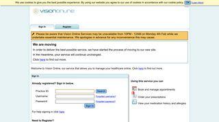Login to online services - Vision Online Services
