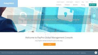 Vendor log in to PayPro Global E-commerce Platform