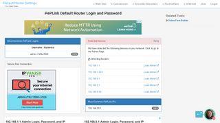 PePLink Default Router Login and Password - Clean CSS