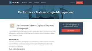 Performance Gateway Login Management - Team Password Manager