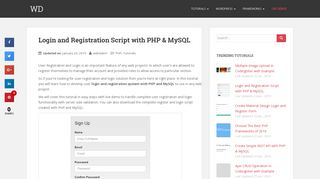 Login and Registration Script with PHP & MySQL | WD