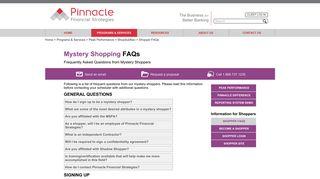 Mystery Shopping FAQs - Pinnacle Financial Strategies