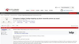 [Chapters Indigo] Indigo topping up plum rewards ymmw as usual ...