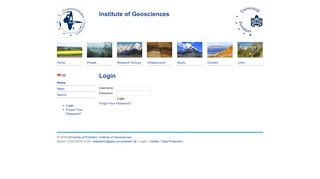 Potsdam University, Institute of Earth and Environmental Science: Login