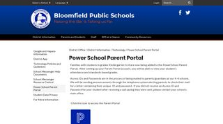 Power School Parent Portal - District Office - Bloomfield Public Schools