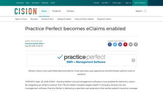 Practice Perfect becomes eClaims enabled - Canada Newswire