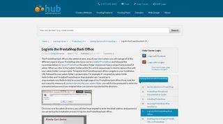 Log into the PrestaShop Back Office   Web Hosting Hub