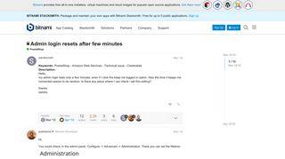 Admin login resets after few minutes - PrestaShop - Bitnami Community