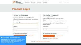 Product Login | Sircon powered by Vertafore