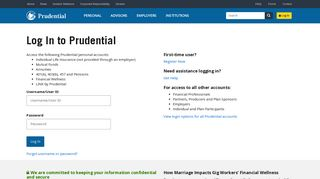 Log In   Prudential Financial