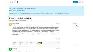Admin Login Fail (SAMBA) - QNAP/Synology NAS - Roon Labs ...