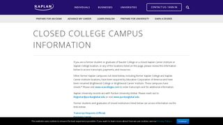 Closed College Campus Information - Kaplan