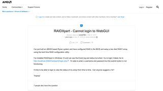 RAIDXpert - Cannot login to WebGUI | Community